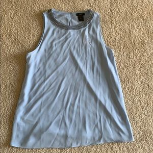 Ann Taylor Factory Blue Tank Top Silver Beads SP